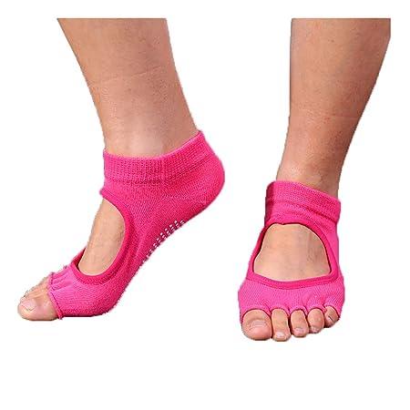 Shuzhen,3 Pares de Calcetines de Yoga sin Dedos resbaladizos ...