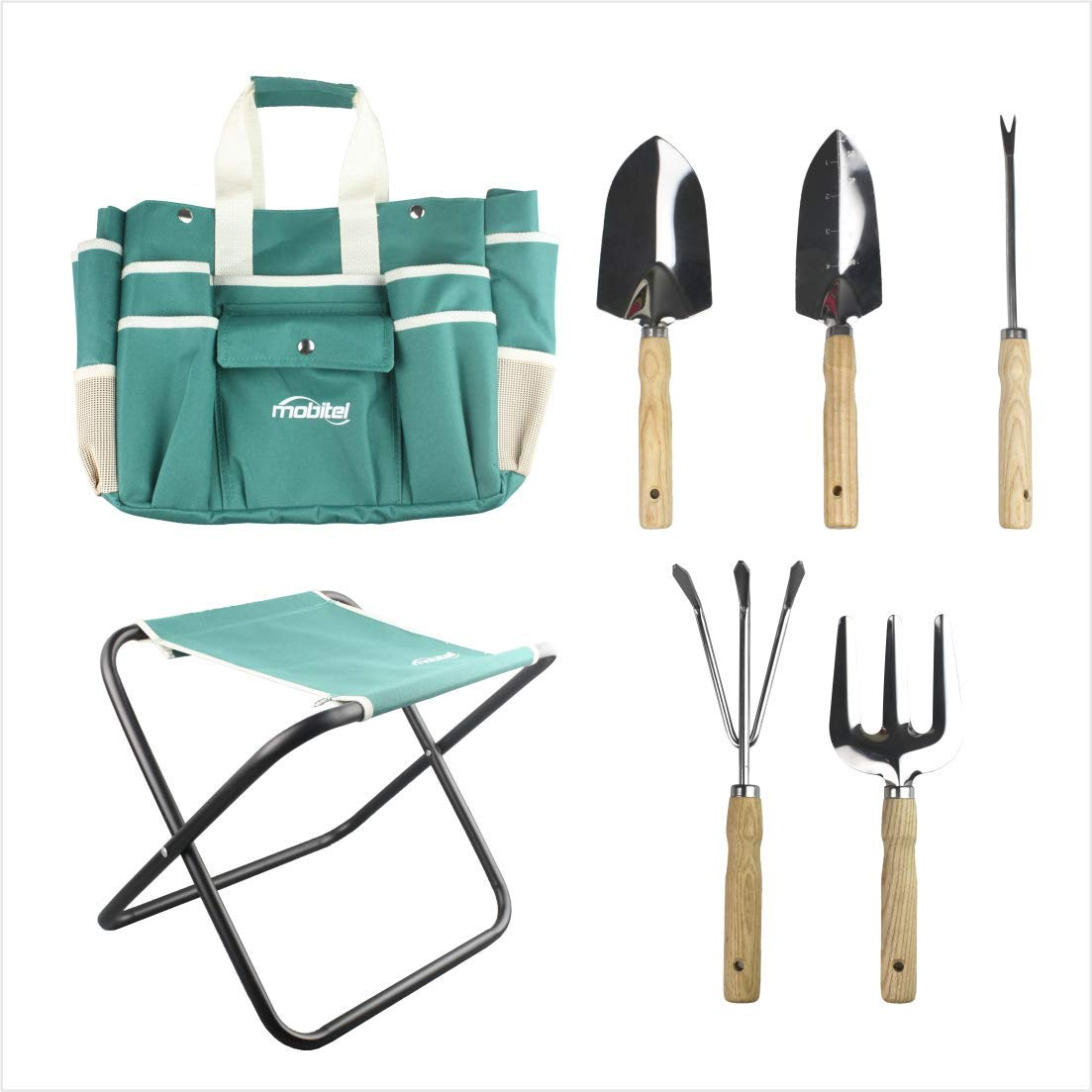 haoyin 7 Piece Garden Tool Set Including Folding Stool with Tool Bag, All in ONE Gardening Tool Kit Gifts for Women & Men.Making Gardening just More Relaxing (Toothpaste)