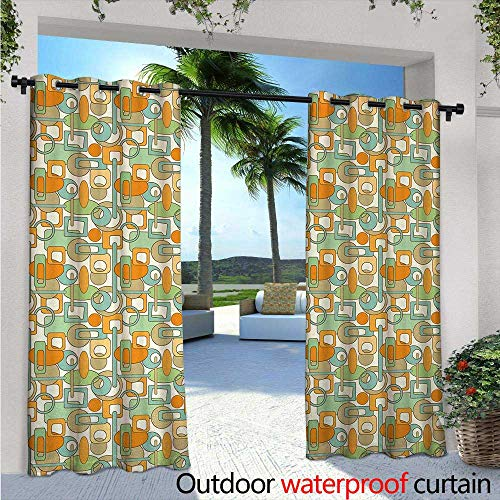 - BlountDecor Abstract Fashions Drape W72 x L96 Colorful Geometrical Shapes with Gaps Circles Oval Lines Mix Pattern Outdoor Curtain Waterproof Rustproof Grommet Drape Orange Green Pale Blue