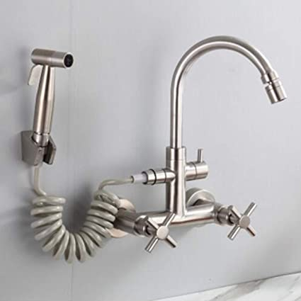 Amazon Com Kitchen Faucet Double Double Entry Wall Type Cold Hot