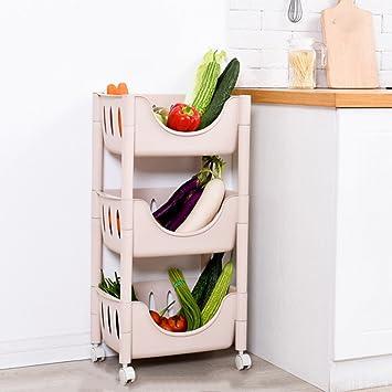 Caja de Almacenamiento de Madera Maciza Estantes de Verduras de Cocina/de plástico Caja de