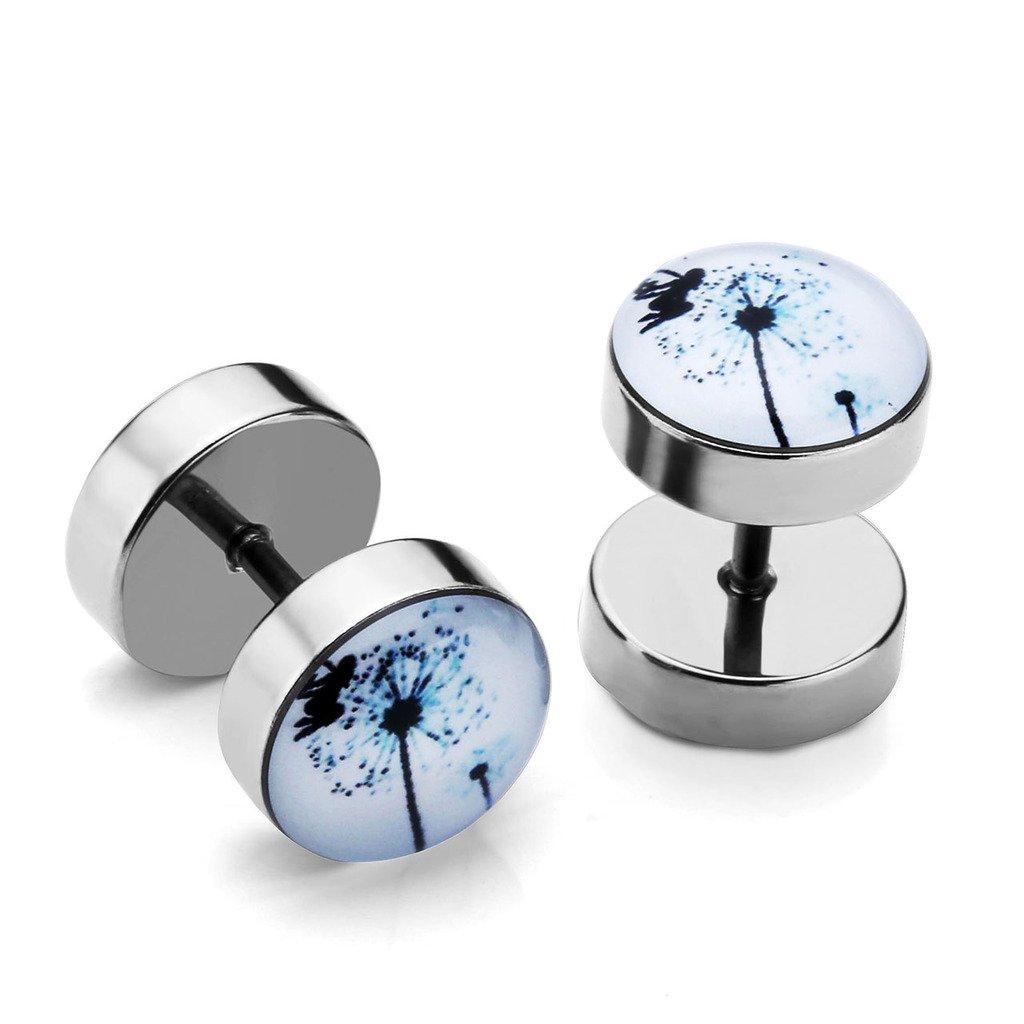 PiercingJ 2pcs 16G Stainless Steel Stud Barbell Earrings Fake Cheater Illusion Plug Gauge 0G Look