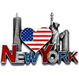 NY Magnet Heart Shaped US Flag New York Souvenir - US Flag,Statue of Liberty,Flatiron, NYC Magnet Metal (Pack 1)