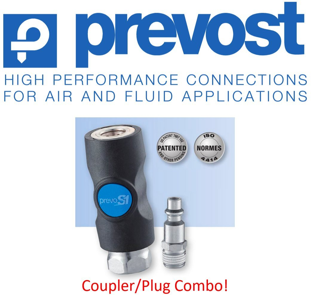 """(1) Prevost ISI, 1/4"""", Industrial Profile, Safety, Compressed Air, Coupler/Air Fitting, (1) Male Threaded Plug COMBO, 3 YR LEAK FREE WARRANTY – Retail Clip Packaged 1/4"""""""