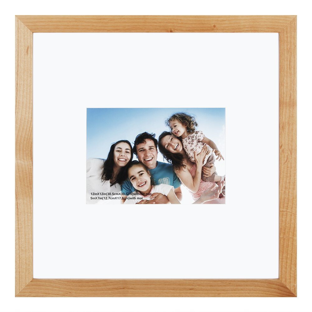 12x12 inch Picture Frame Made of Solid Wood and High Definition Glass Display Pictures 5x7 with Mat or 12x12 Without Mat for Wall Mounting Photo Frame Natural