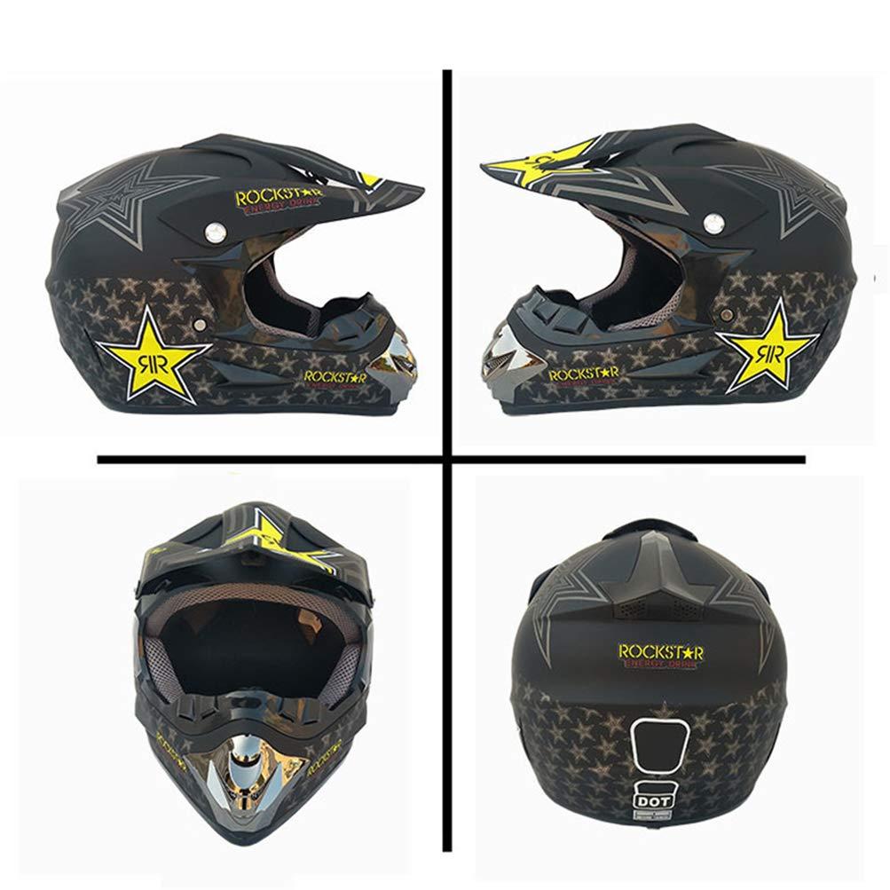 Negro//Rockstar Adulto Casco Motocross Enduro MTB con Gafas//M/áscara//Guantes//Red El/ástica MRDEAR Casco Descenso Hombre Casco Cross Quad Off Road ATV Scooter