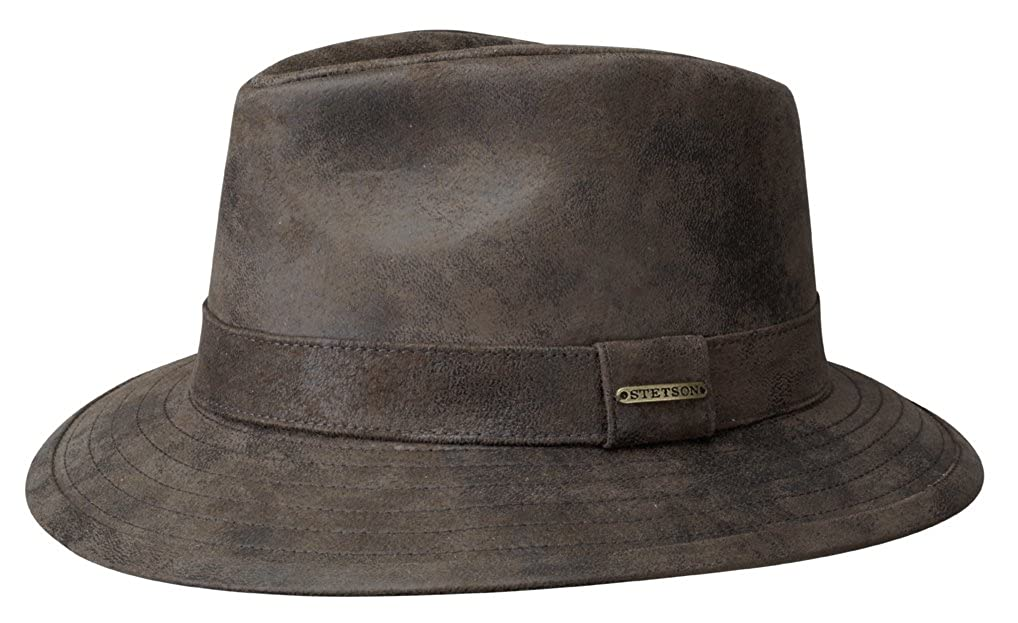 df1d2ef1e8e Stetson Elkhart Distressed Leather Fedora Hat Brown at Amazon Men s  Clothing store