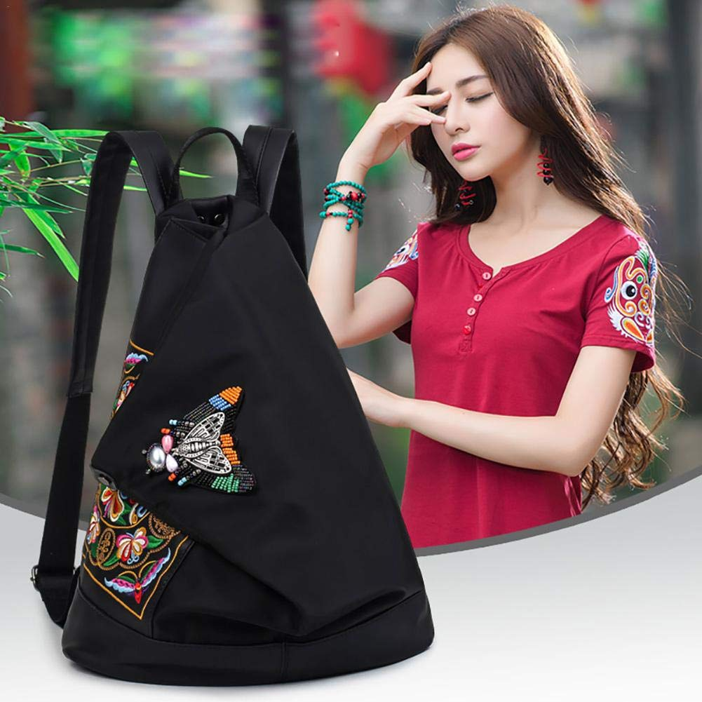 iBasteFR Nylon Embroidery Backpack Broderie École Voyage Femme Dames Sac À Dos Mode Casual Daypacks