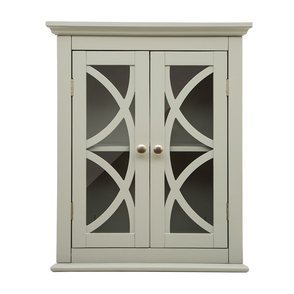Glitzhome Wooden Wall Storage Cabinet Glass Double Doors, Gray