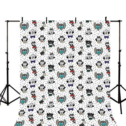 Superhero Stylish Backdrop,Animal Owl Dear Fox Cat Penguin Raccoon Bear in Superhero Costumes Print for Photography,118