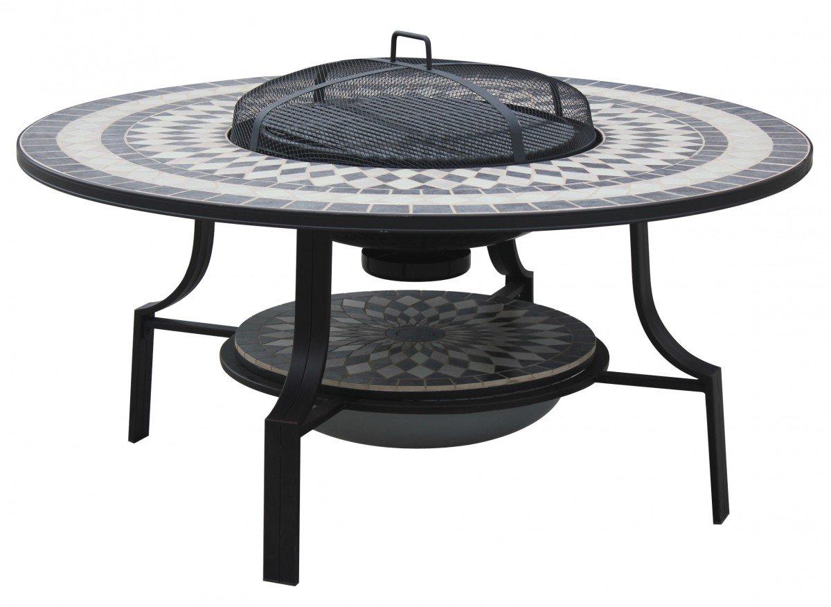 Dreams4Home Gartentisch 'Lissabon' - Tisch, Tisch mit Feuerstelle, Tisch mit Grillfunktion, Gartentisch, Gartenmöbel, B/H/T: 120 x 56 x 120 cm, Stahlgestell, in anitk schwarz