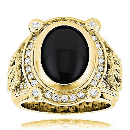 Luxurman Black Onyx Ring 14K Natural Diamond Onyx Ring (Yellow Gold Size 8.5)