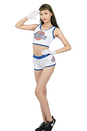 competitive price e7844 b6d48 Xcoser Womens Lola Bunny Basketball Jersey Costume Lovely Tank Top   Shorts    Gloves White