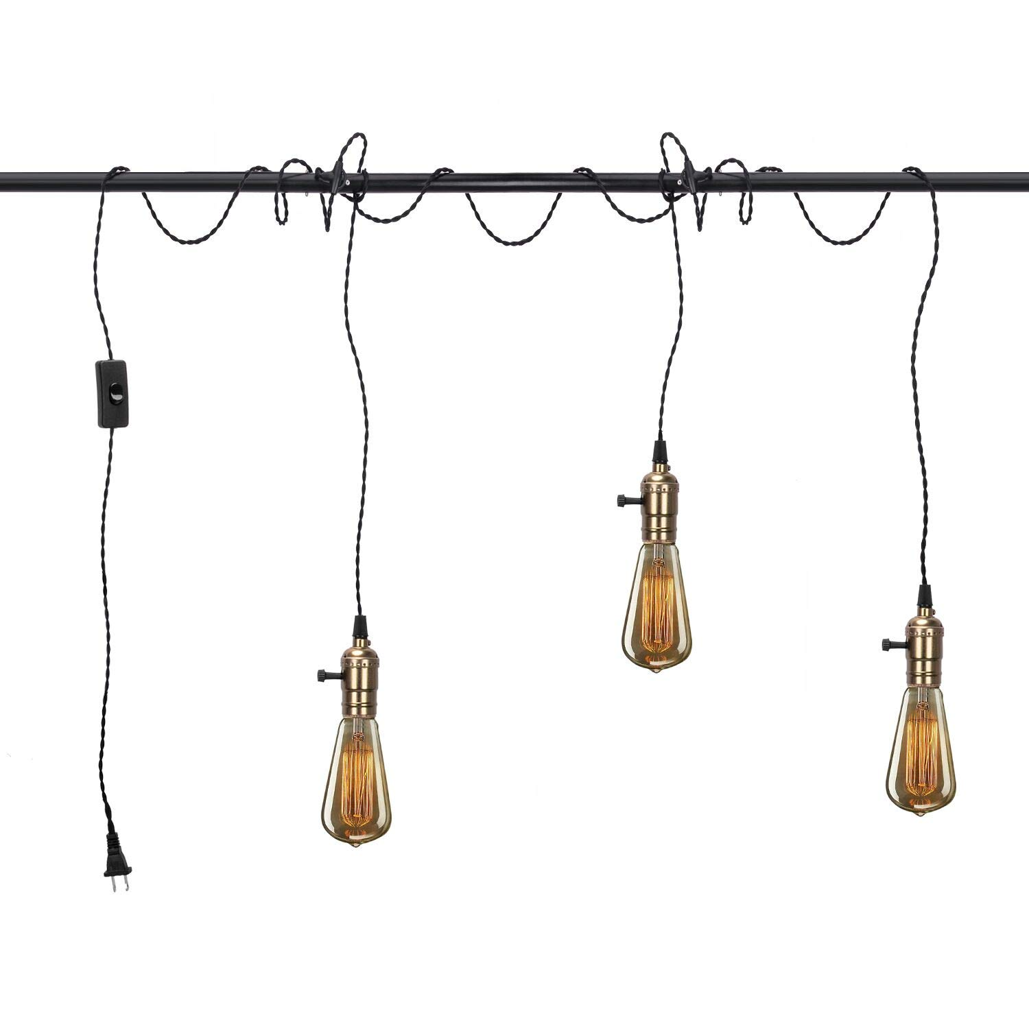 Vintage Pendant Light Kit Cord with Switch and Triple E26 E27 Industrial Light Socket Lamp Holder 25FT Twisted Black Cloth Bulb Cord Plug in Hanging Light Fixture by Melunar