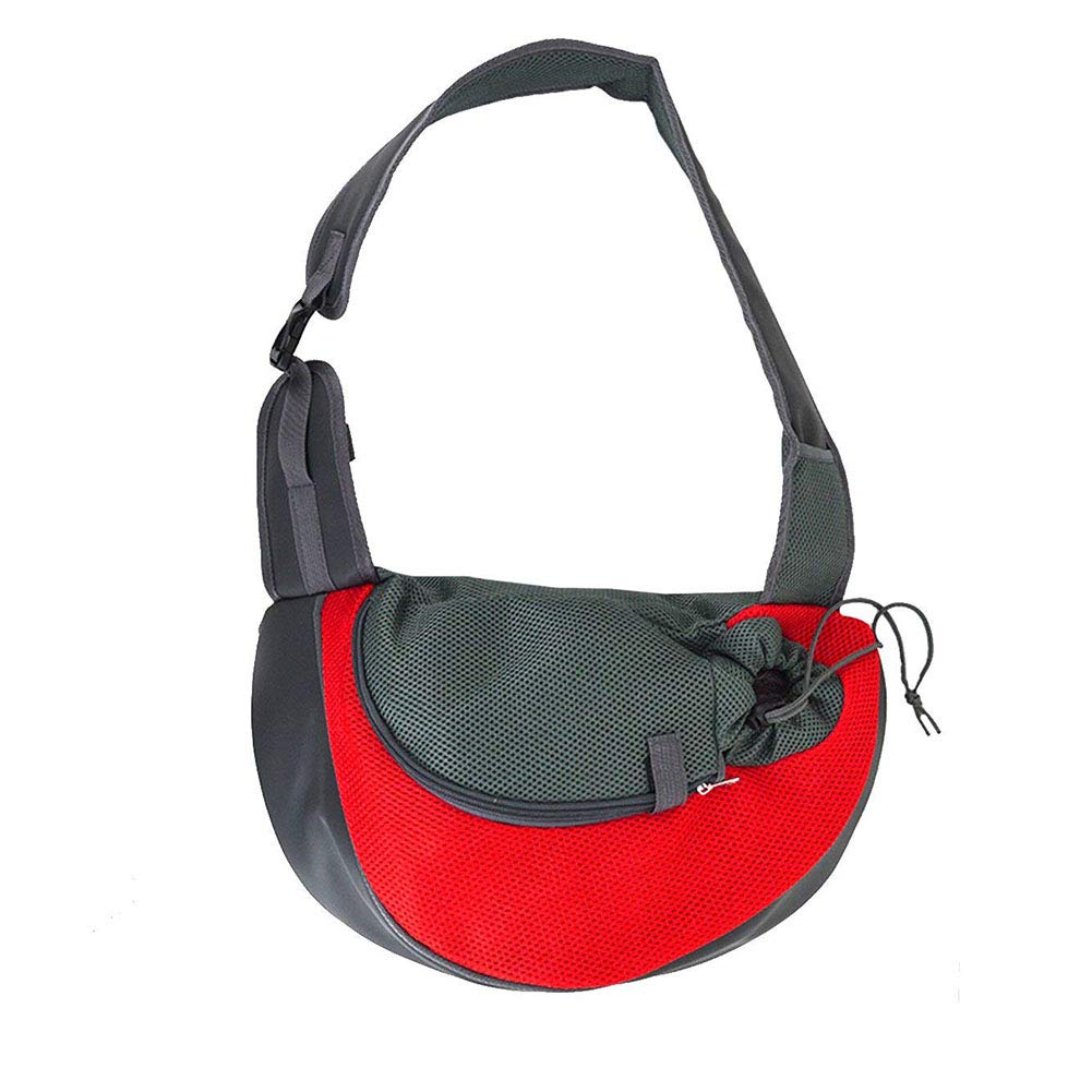 Red Small Red Small Pet Sling Dog Cat Sling Carrier for Cats Dogs Bunny, Extra Safety Outdoor Travel Oxford Single Shoulder Bag Sling,Red,S