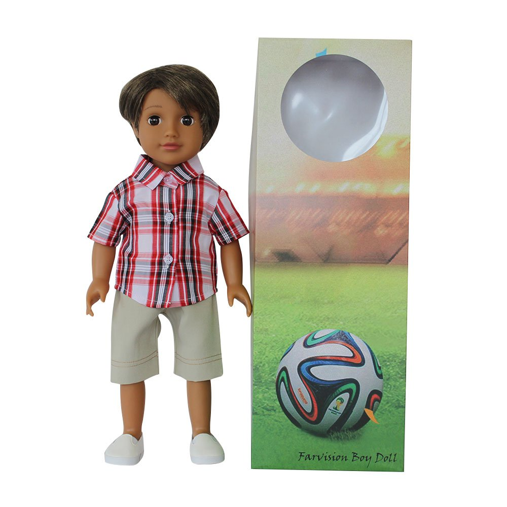 Medium Brown Skin Vinyl Boy Doll 18 Inch With Casual Grid Short Sleeve Shirt, Ligth Green Shorts, White Shoes