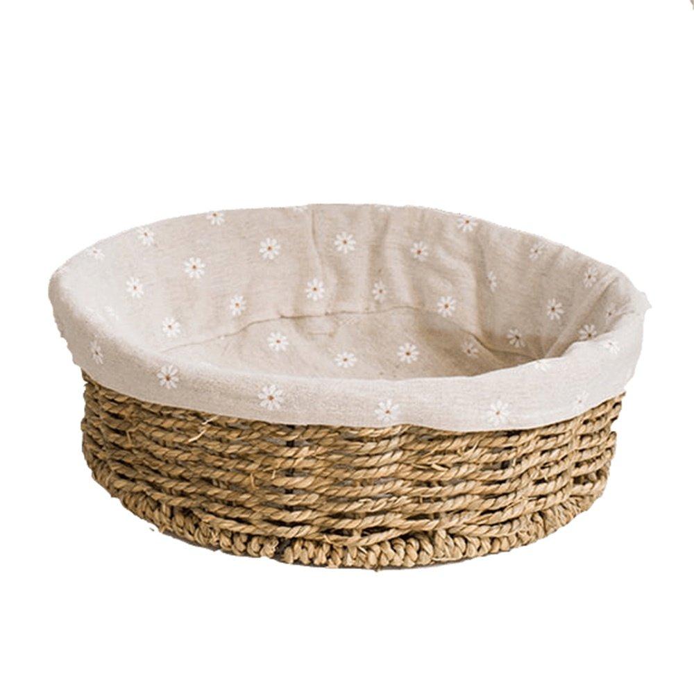 Seaweed Weaving Basket Desk Storage Basket Square Without Cover Debris Frame, B