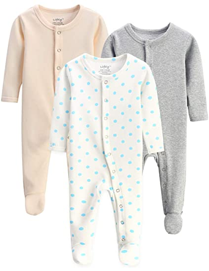 953eca7ae5aa1 lifely 3 Baby Pajamas Footed Newborn Boy Girl Infant Sleeper Footie Romper  Overall Mitt