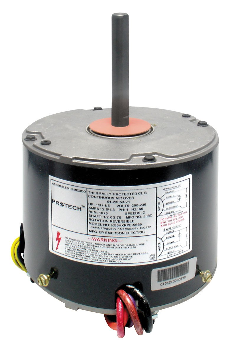 Rheem Protech TripSaver Condenser Fan Motor 1/6 HP to 1/3 HP 208-230V  1-Phase 60Hz 1075 RPM 2-Speed (#51-23053-21) - Electric Fan Motors -  Amazon.com