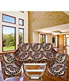 Tanya's Homes Beige and Brown leaf design with chenille and velvet material sofa covers set for 5 seater sofas - Pack of 6 pc with size of 2 Length :- 28 inch x Width :- 24 inch