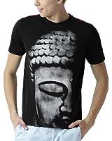 Huetrap men's Black Sutra Buddha Print T shirt