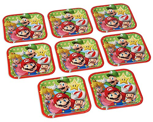 Swank Super Mario Brothers Birthday Party Square Dessert Paper Plates Tableware (8 Pack), Multi Color, 7