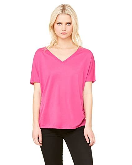 955fa161 Bella + Canvas Ladies' Flowy Simple V-Neck T-Shirt XL BERRY at Amazon  Women's Clothing store: