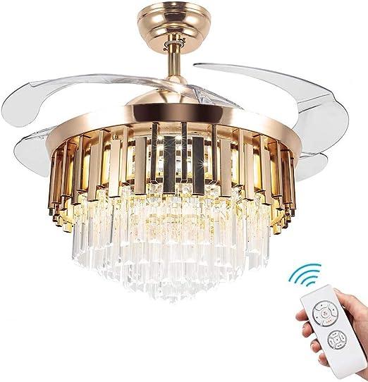 Ventiladores de techo de cristal con luces Modernas lámparas de ...