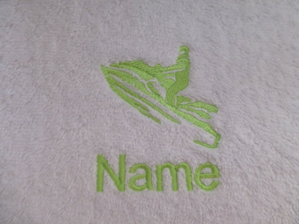 Hooded Towel 0-5 years EFY White Baby Hooded Bath Robe or White Hooded Towel with a JET SKI Logo and Name of your choice.