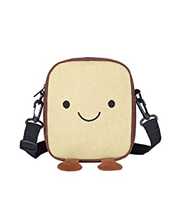 Women Cute Cartoon Bag Canvas Small Square Messenger Daypack Mini Travel Crossbody (Khaki)