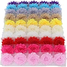 Mybigqueen 5 Piece Boutique Shabby Chic Fabric Rose Flowers Trim DIY Chiffon Frayed Tulle Flower, 10 Colors
