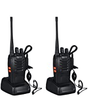 Rechargeable Walkie Talkies Long Range Two-Way Radio Walkie Talkie Radio Set Walky Talky with Earpieces 16CH Handheld Transceiver with LED Light for Field Survival Biking Hiking (1 Pair with Earphone)