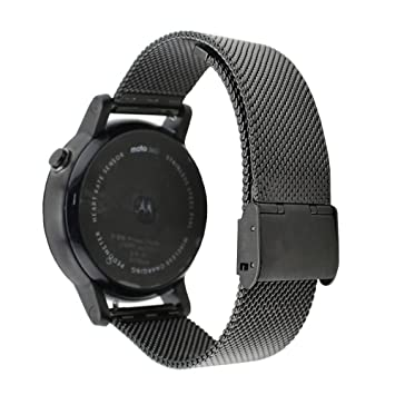 GOOQ Metal banda de reloj de 22 mm de malla de acero inoxidable para Moto 360 2 nd Gen 46 mm, Lg G Watch W100, Urbane W150, R W110, Samsung Gear 2 ...