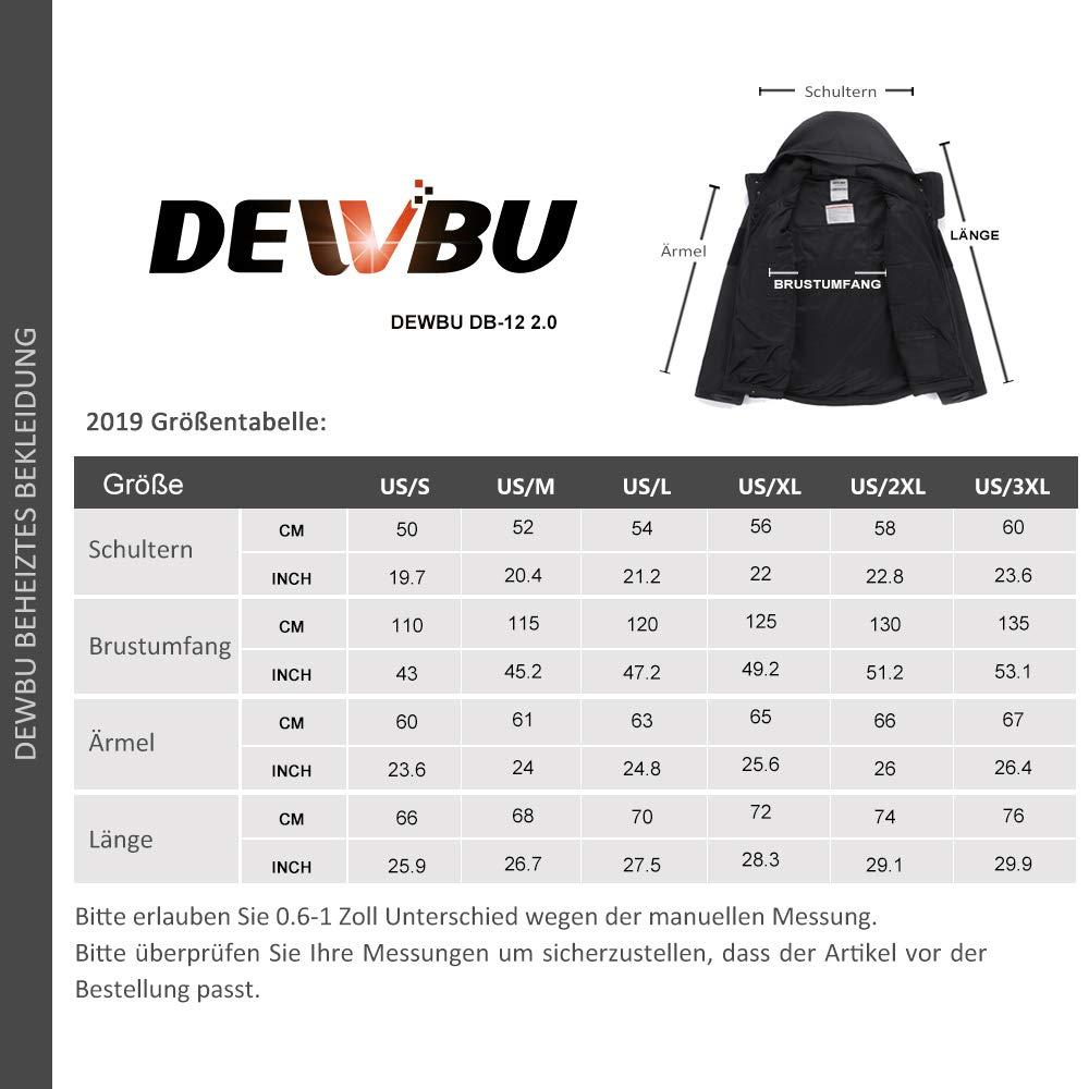 DEWBU Softshelljacke Beheizbare Jacke Softshell Winterjacke Heiz-Jacke mit Akku 7.4V und Ladeger/ät zum Outdoor Arbeiten Motorrad Schilaufen und T/ägliches Tragen DB-12 2.0
