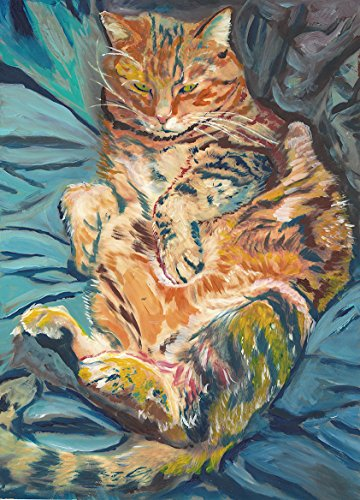 Cat Painting Wall Art Print, Ginger Tabby Cat Art, Cat Owner Gift, Kitten Wall Art Print, Colorful Lazy Cat Gift Wall Decor ()