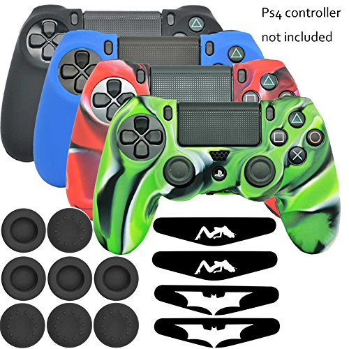 Controller ps4 light bar amazon lightbird playstation 4 controller soft silicone skin cover with light bar decal skin stickers and thumb stick grip covers for sony ps4 controllerskin x 4 aloadofball Choice Image