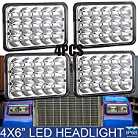 4x6 Inch LED Headlight for Kenworth GMC Peterbilt Trucks Lights Sealed Beam Bulb H4651 H4642 H4652 H4656 H4666 H4668 H6545 T400 T600 High and Low Beam Conversion Kit (Package of 2 Pair)