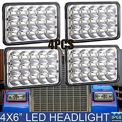 4X6 Inch LED Rectangular Headlights For Trucks Kenworth GMC Peterbilt Chevy LIGHT BULB - Square Clear Sealed Beam H4651/H4642/H4652/H4656/H4666/H4668/H6545 High and Low Beam Bulb Package of 4