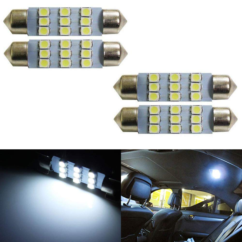 iJDMTOY (4) Xenon White 9-SMD 1.72' 42mm LED Replacement Bulbs For Car Interior Map Dome Lights iJDMTOY Auto Accessories 2121 2122 2142 560 569 6413 6428 12844