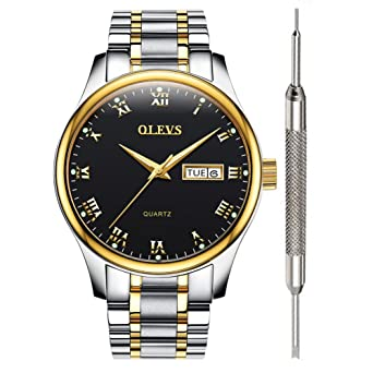 9db212a59 Black Inexpensive Watches for Men - OLEVS Waterproof Black Mens Calendar  Watch Stainless Steel with Date