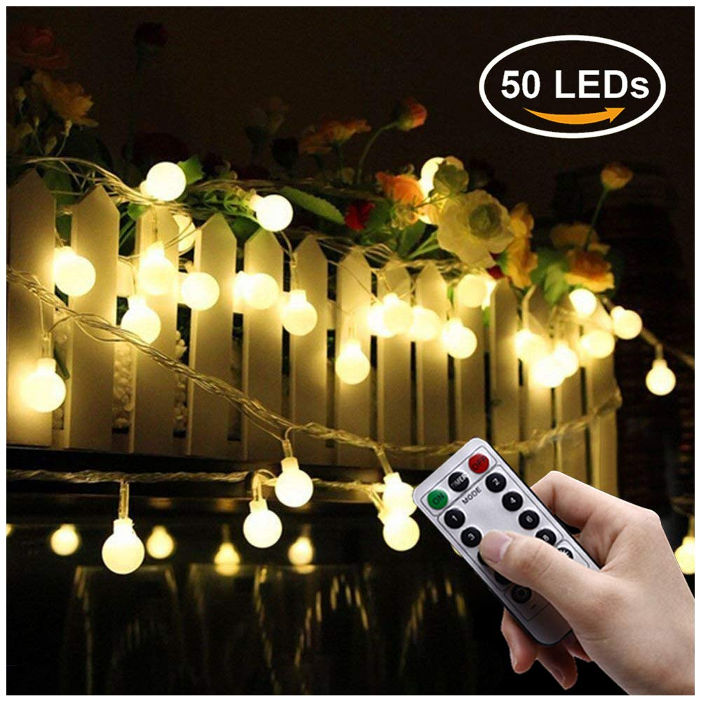 Garden Fairy Lights, QcoQce 16.5FT/5M 50LED String Lights with Remote Controller,Battery Operated,8 Flash Modes, Waterproof Outdoor Globe String Lights for Christmas Garden Bedroom Party Holiday