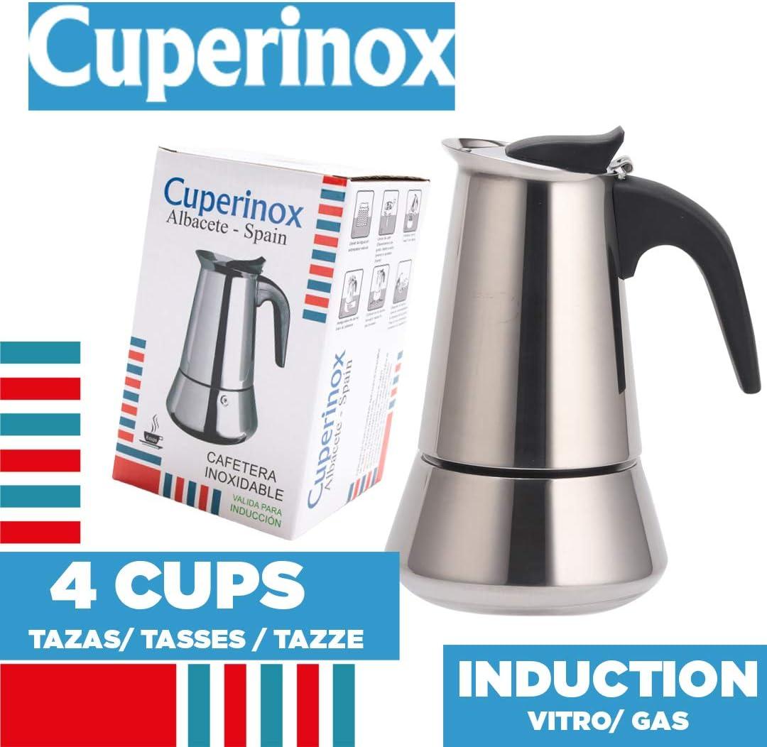 CUPERINOX Cafetera italiana induccion | 4 tazas | cafetera express para placas gas y vitroceramica induccion | para cafe espresso | acero inoxidable | apto lavavajillas: Amazon.es: Hogar