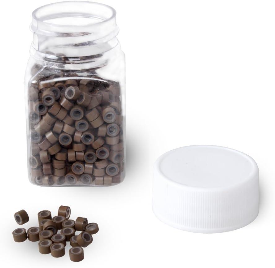 500 piezas micro anillos de 5 mm de silicona forrado cuentas perlas, enlaces para unir extensiones de plumas de cabello humano (marrón)