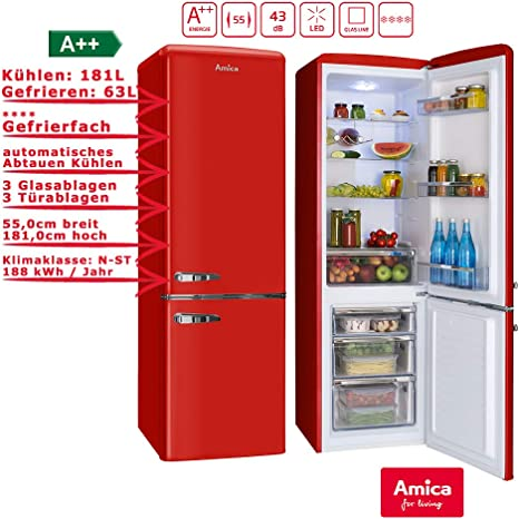 Amica kgcr 387 100 R nevera/congelador Rojo: Amazon.es: Grandes ...