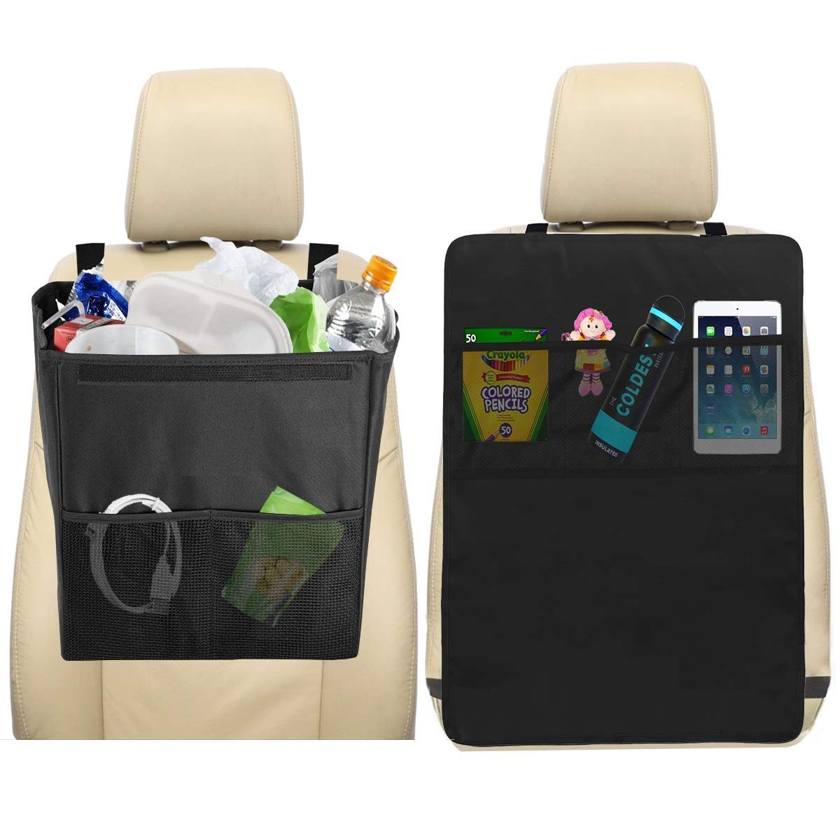 lebogner Car Trash Can + Kick Mat Seat Back Protector with 3 Organizer Pockets for Storage, Kick Guard Seat Saver, X-Large 100% Leakproof Car Garbage Bin, Perfect for Car Seat Headrest Or Car Floor trash can and kick mat protector