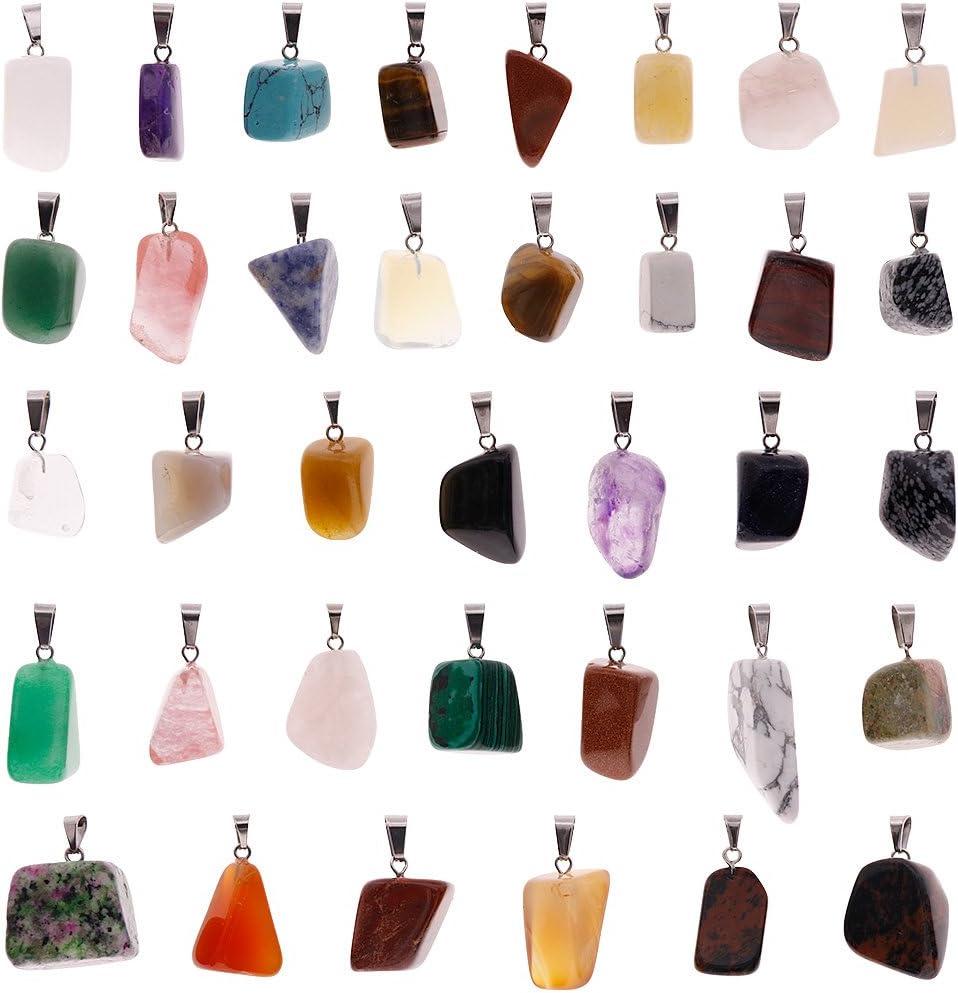 Juanya 60 colgantes de piedras curativas irregulares, cuentas de chakra de cristal para hacer collares y joyas, varios colores