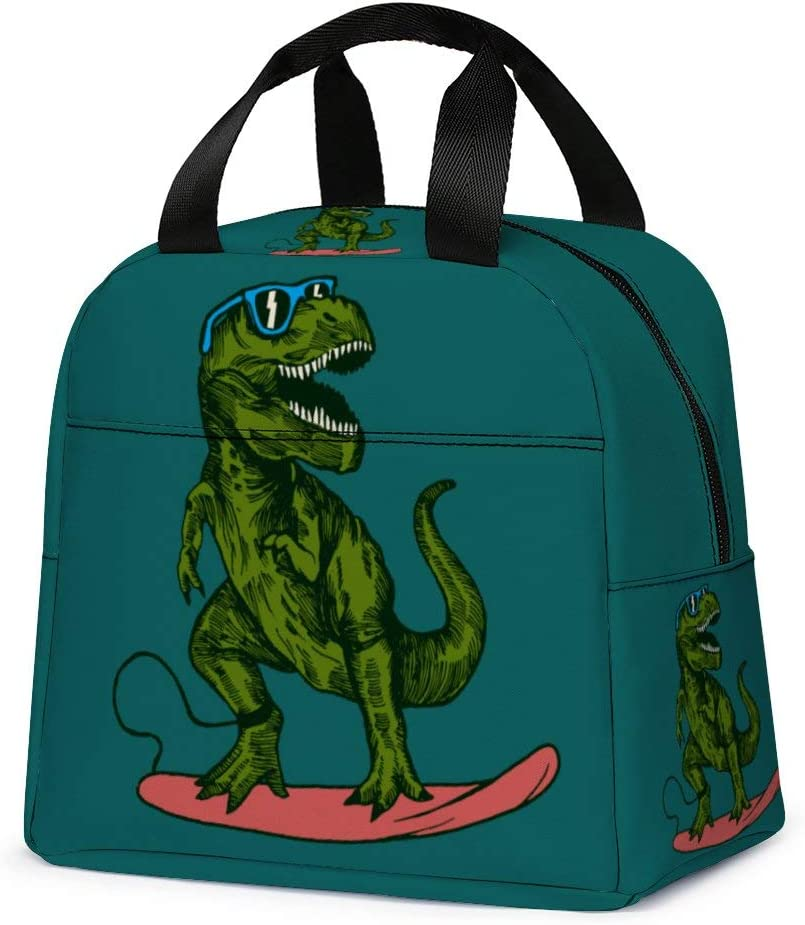 Dinosaur Lunch Bag, Reusable Cute Lunch Box Insulated Kids Cooler Tote Bag Multi-functional School Lunch Container for Teen Boys Girls (Dark Cyan)