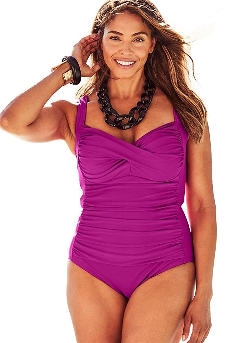 dab84366473 Jessica London Swimsuits for All Womens Plus Size Twist-Front One-Piece  Swimsuit Bright Fuchsia 30 ...