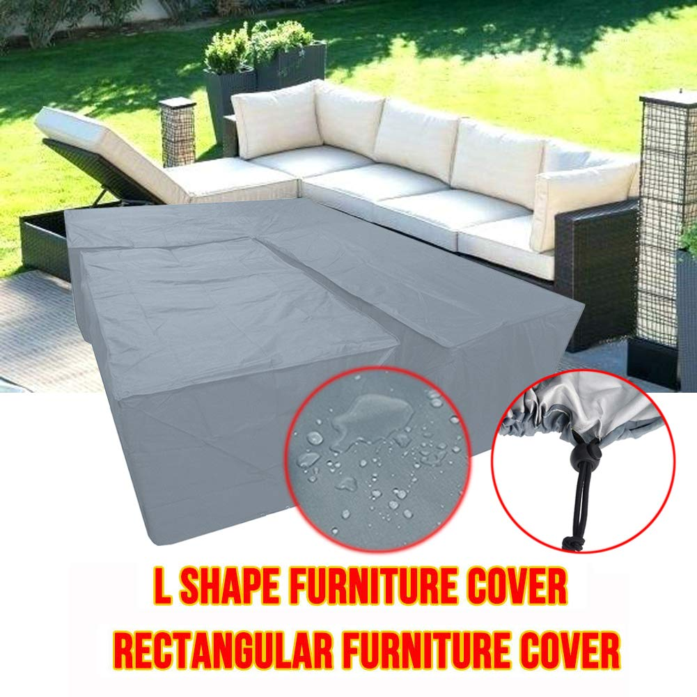 Silvotek L Shaped Garden Furniture Covers - Protective Cover for Corner Sofa,L Shaped Outdoor Sofa Cover Waterproof L Shaped Patio Couch Covers (L Shape 118''×118''×35''+Rectangle 61''×37.5''×27'') by Silvotek