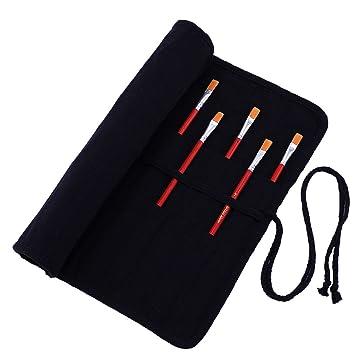 Abaría - Bolso estuche enrollable para pinceles para pintar al Óleo/Acrílica/Acuarela, portalápices de lona 20 agujeros, bolsa organizador para ...